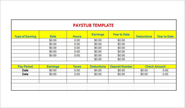 Pay Stub Template Microsoft Excel