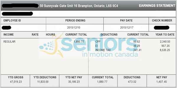 Pay Stub with company Logo Ontario