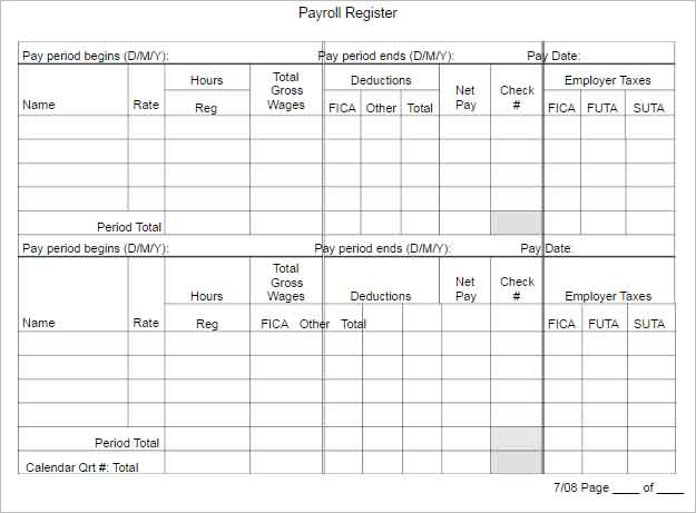 Payroll Register Template to download