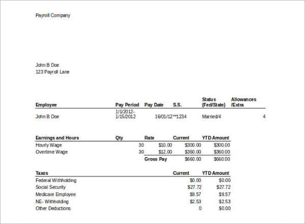 Payroll Template With Stubs MS Excel Download  Free Payroll Templates