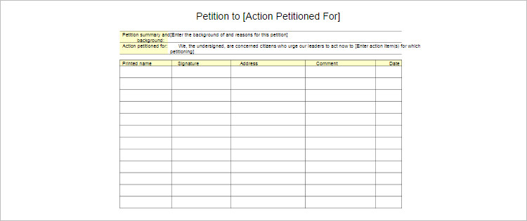 Pentition Action Template Form