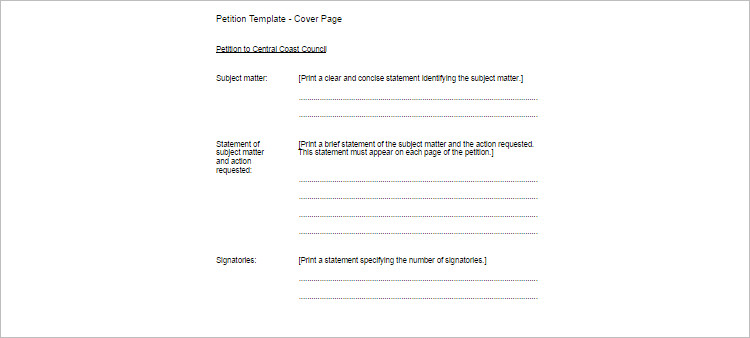 Petition TEmplate Word Form