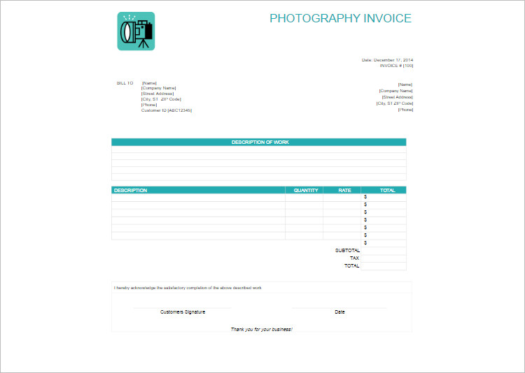 Photography Invoice Template Word Document