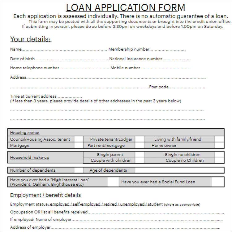 Printable Credit Application Form Template