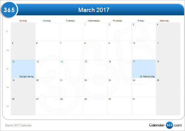 Printable March 2017 Calendar Templete