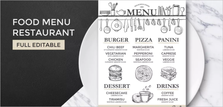 Printable Restaurant Menu Template  Free Word Menu Template