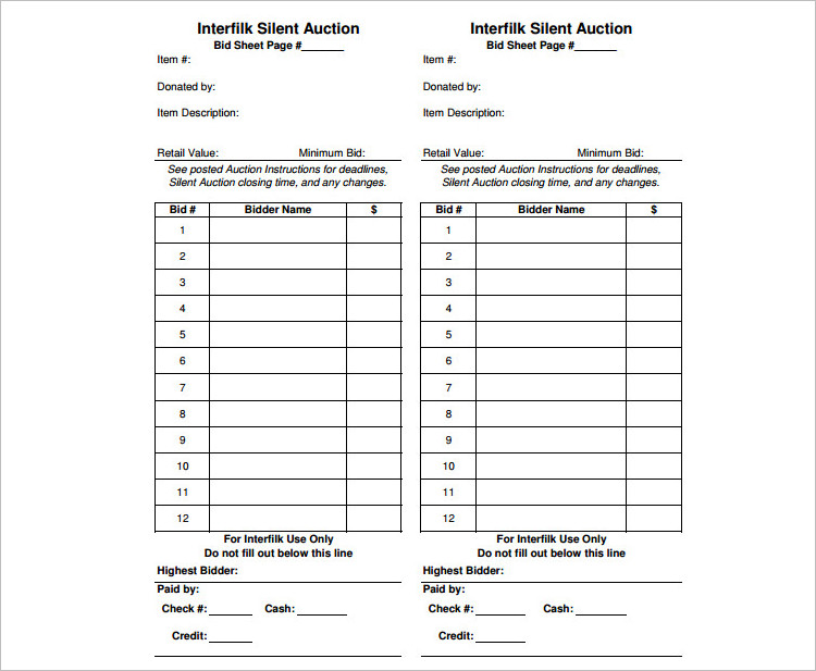Silent Auction Bid Sheet Templates Free Word Excel Pdf Formats