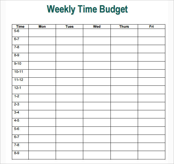 Printable Weekly Budget Excel Template
