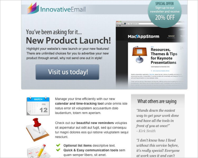 Product Tour HTML Email Template