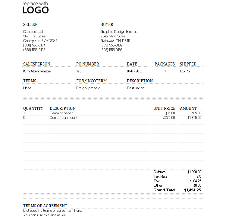 Professional Invoice Excel Template