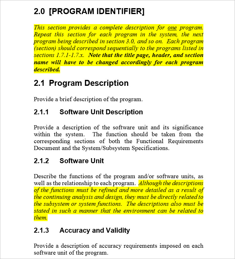 Program File Word Document Template