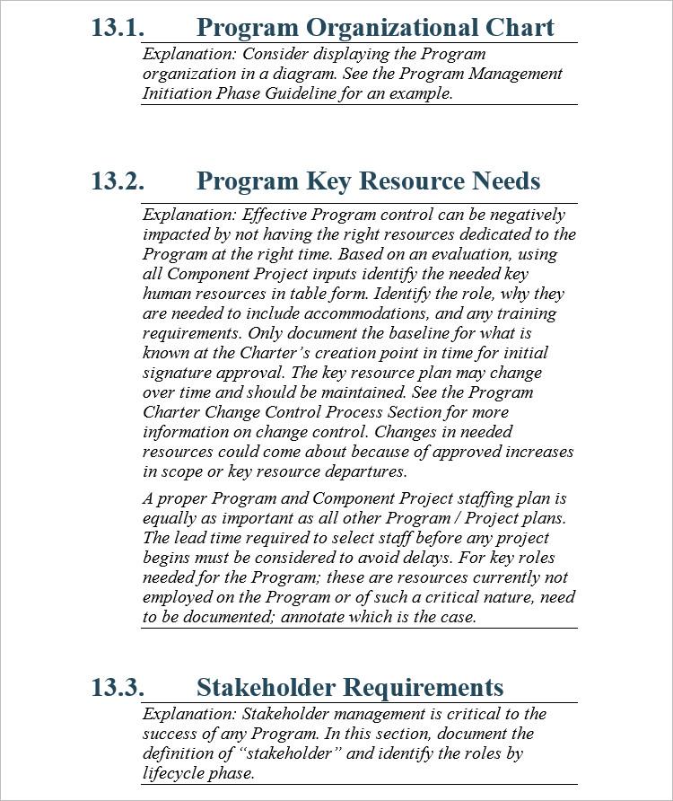 Program chart Word PDF Template