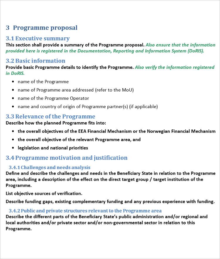 Program proposal Word Excel template