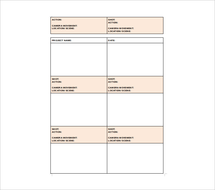 Project Story Board Template