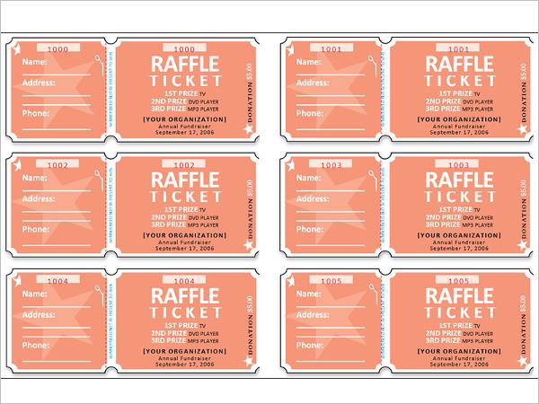 Raffle Ticket Template Example
