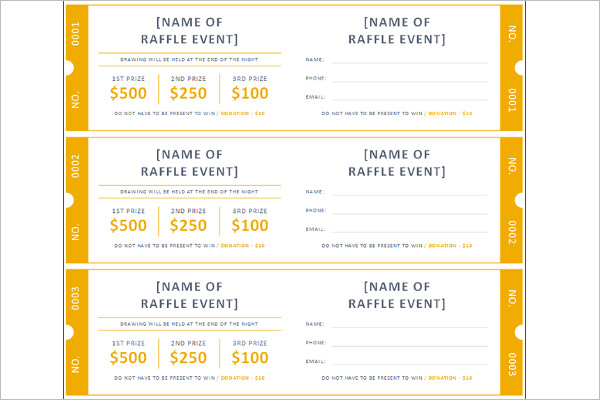 Raffle Ticket Template Word Form ...  Event Ticket Template Free Download