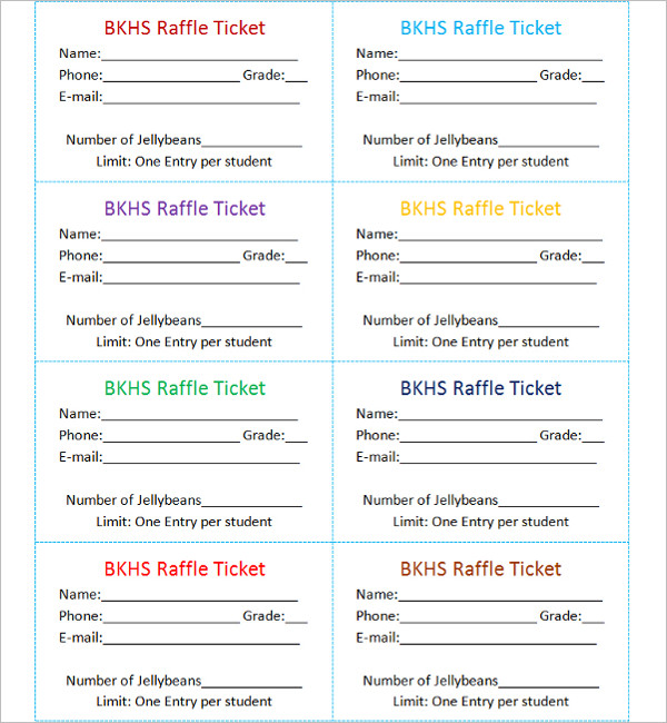 Numbered Ticket Template Free  Free Numbered Raffle Ticket Template