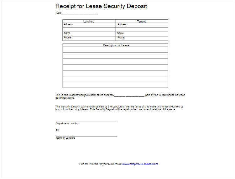Receipt Lease Security Deposite Template