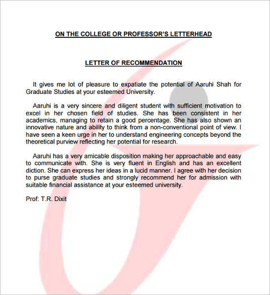 Recommendation Letter for Undergraduate Studies