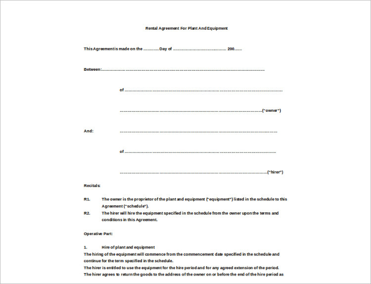 Simple Equipment Lease Agreement  Hlwhy