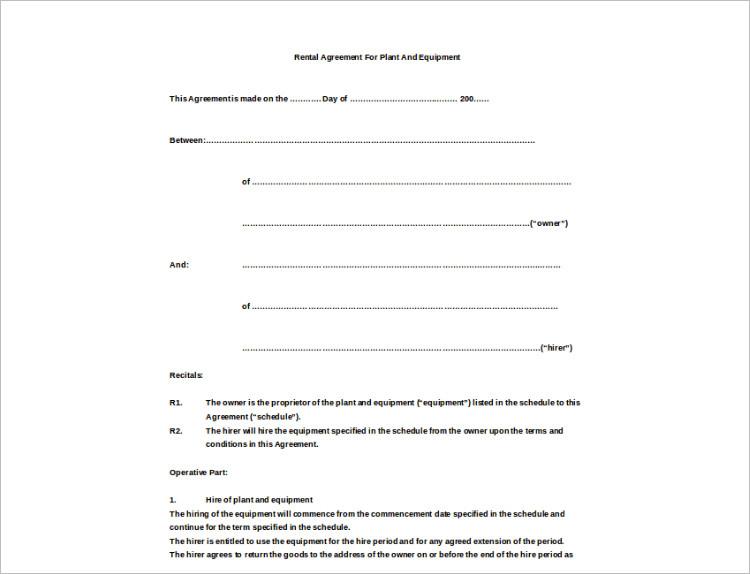 Rental Agremeent Plan PDF Template