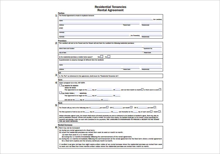 Rental Tenanicies Rental Agreement Template
