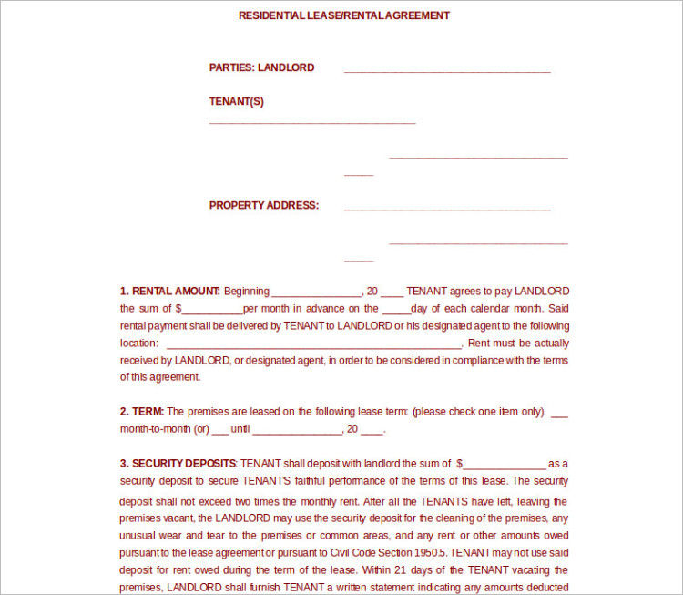 Residential Room Rent Agreement Template