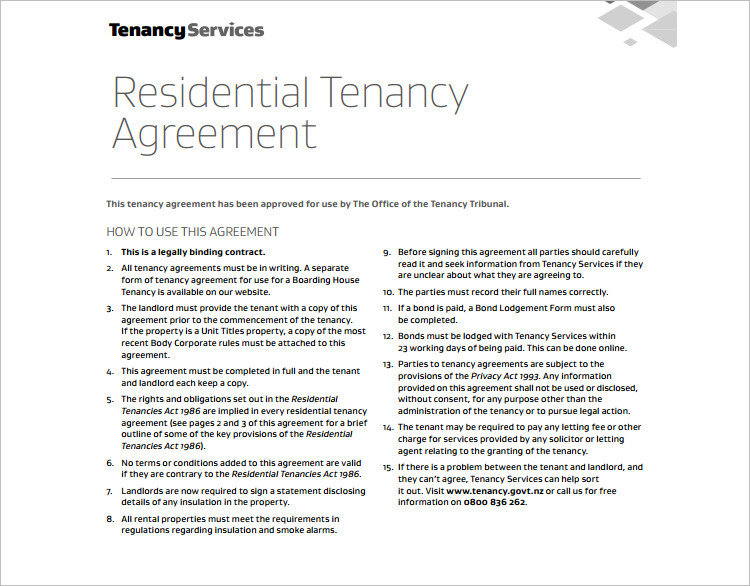Residential Tenancy Agreement Template Format