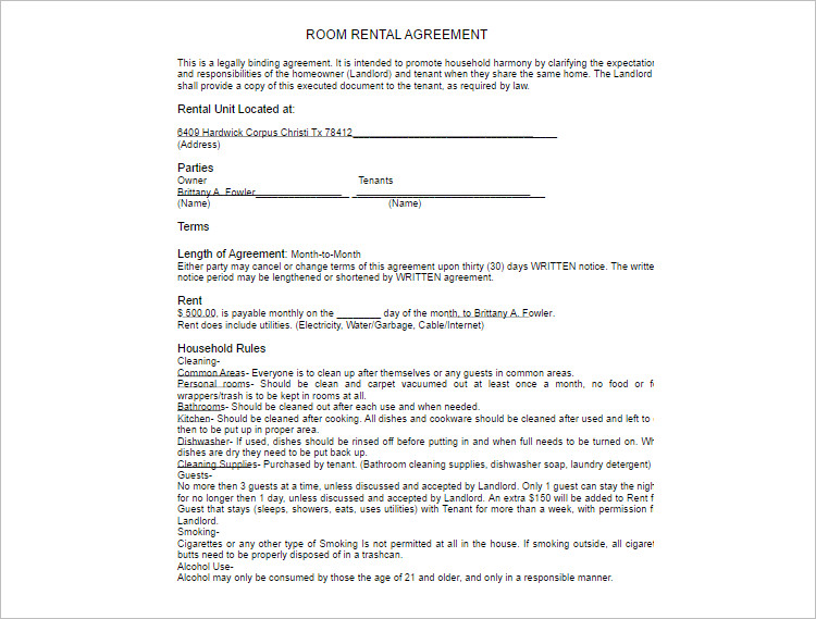 Room rental agreement Template form