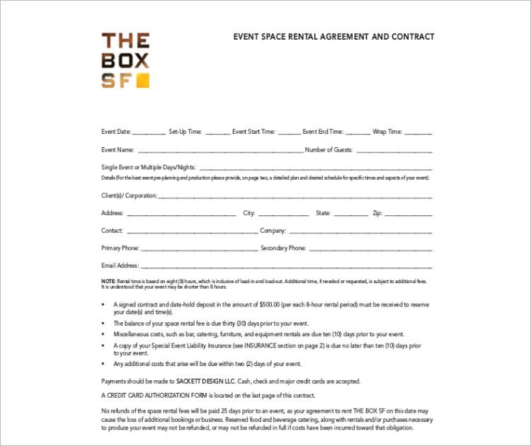 Room space Rental agreement template