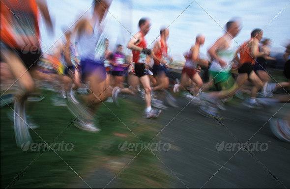 Runners in the April 2002 London Marathon