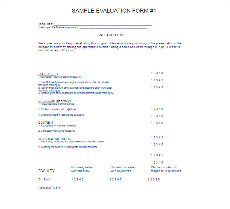 Sample Evalution Program template