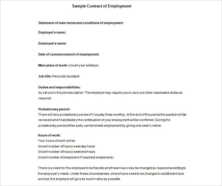 Sample Job Contract Template PDF Format