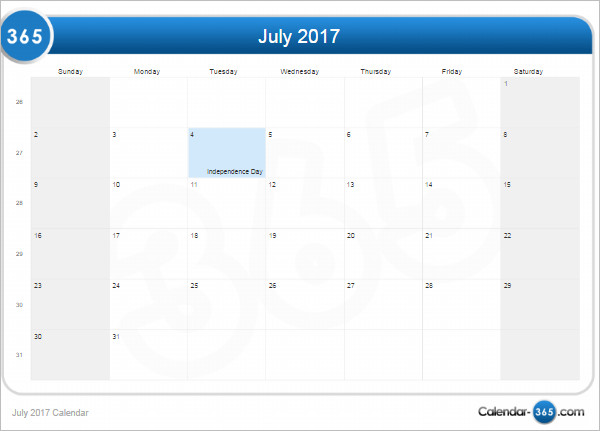 Sample July 2017 Calendar Template