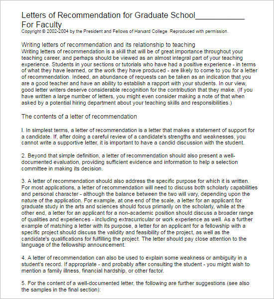 55 recommendation letter template free word pdf formats sample letter of recommendation for graduate school from employer spiritdancerdesigns Choice Image