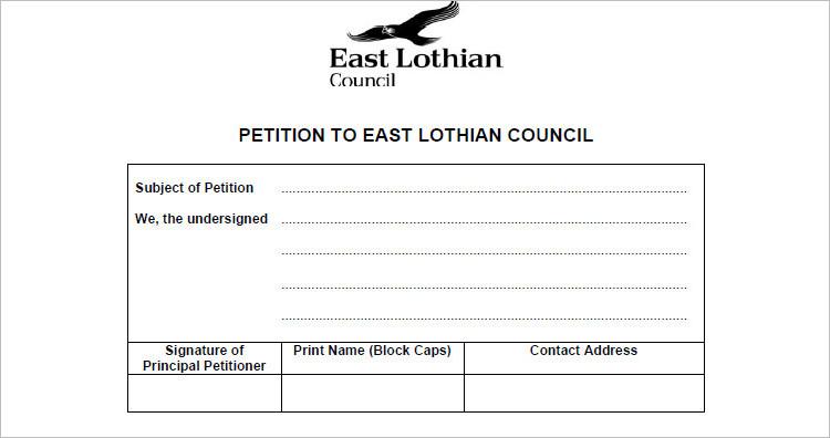 Sample Petition Template PDF Form
