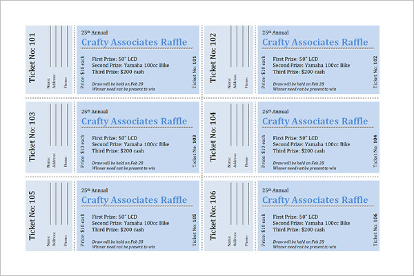 34 raffle ticket template free word pdf psd doc for Sample of raffle tickets templates