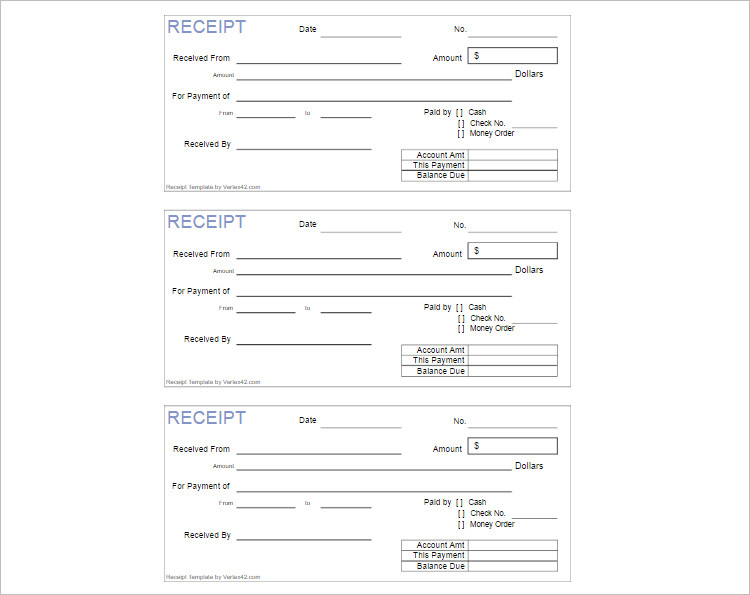 Sample Receipet Template Execl Word