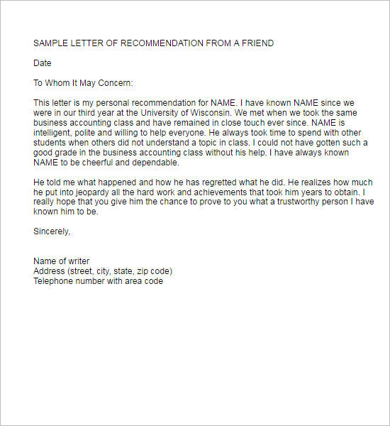 Recommendation Letter From A Friend Pdf Download Sample Recommendation  Letter From A Friend Pdf Download ...  Format Of Recommendation Letter From Employer