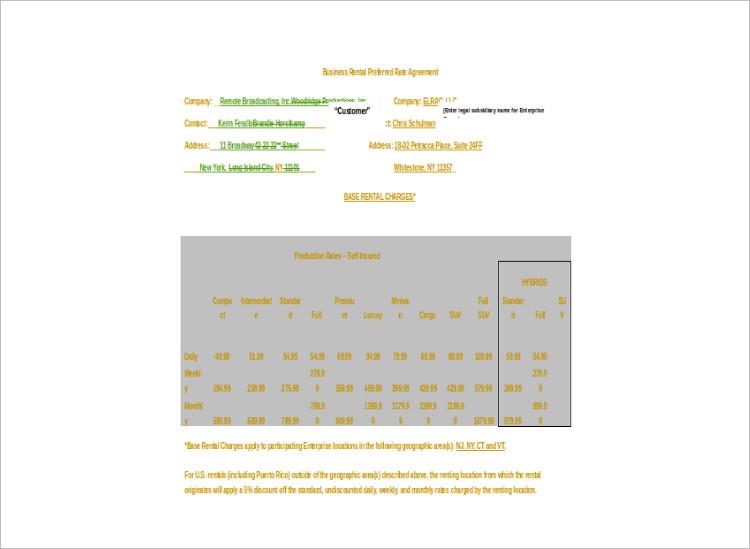 Sample Rental Agreement Template Doc