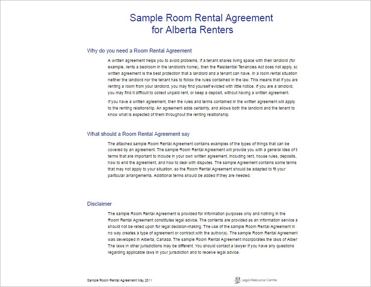 Room Rental Agreement Template  Free Word Form Documents