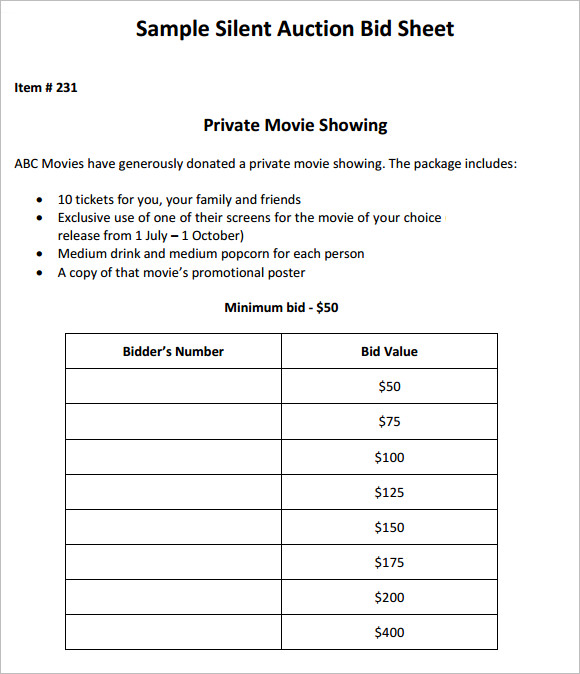 Silent Auction Bid Sheet Templates - Creative Template | Creative ...