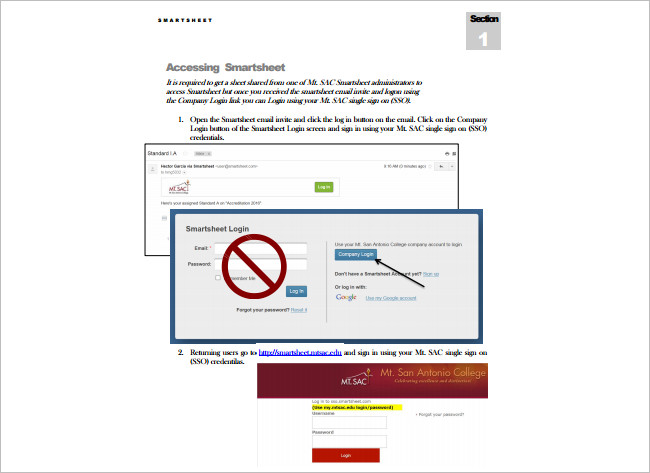 Sample Smart Sheet Excel Template