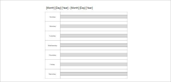 Sample Weekly Calendar Templates PSD