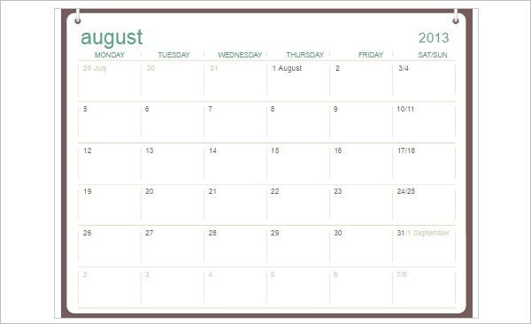 School Calendar Template Format PDF