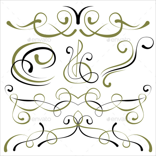 Set of Calligraphic Elements for Design images