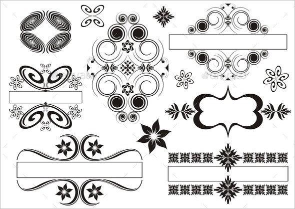 Set of vintage emblems made of calligraphic elements
