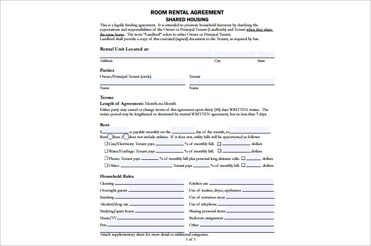 Shared Room Rental agreement Template