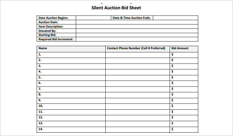 12 silent auction bid sheet templates free word excel pdf formats. Black Bedroom Furniture Sets. Home Design Ideas