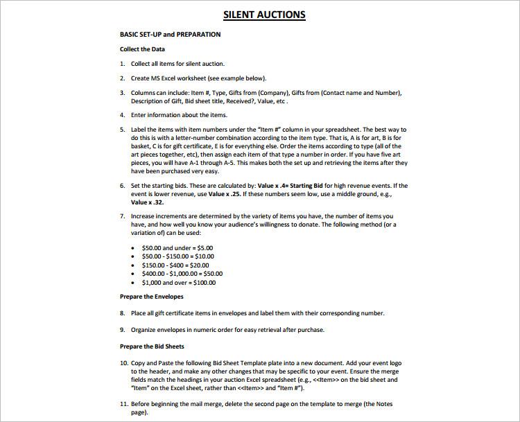 12 Silent Auction Bid Sheet Templates Free Word Excel Pdf